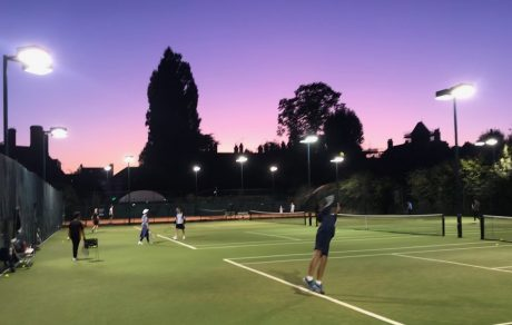 Purple sky over Farm Walk artificial grass tennis courts